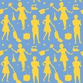 Housewife Retro Woman Silhouette Seamless Pattern