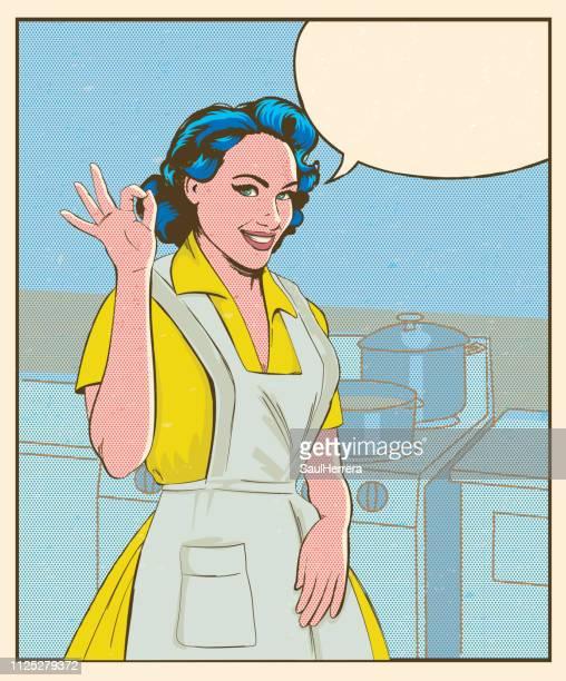 ilustraciones, imágenes clip art, dibujos animados e iconos de stock de ama de casa diciendo ok - madre trabajadora