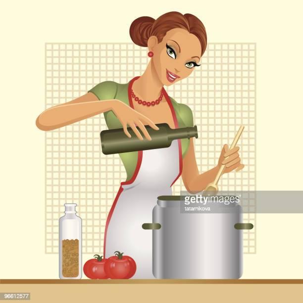 Femme au foyer. Soupe à la tomate.