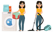 Housewife washes clothes in the washing machine vacuuming home with a vacuum cleaner, set.