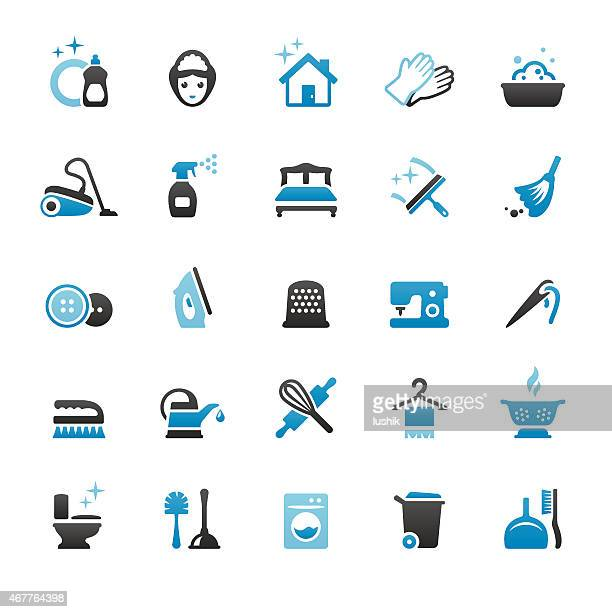housework and cleaning vector icons - toilet brush stock illustrations, clip art, cartoons, & icons