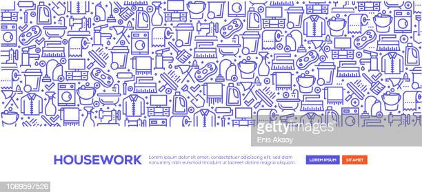 housework banner - housework stock illustrations, clip art, cartoons, & icons