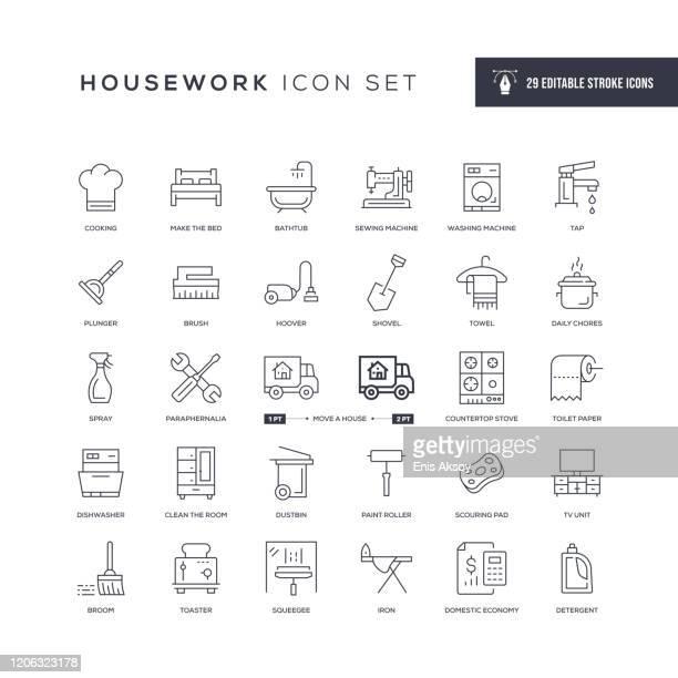 housework editable stroke line icons - housework stock illustrations