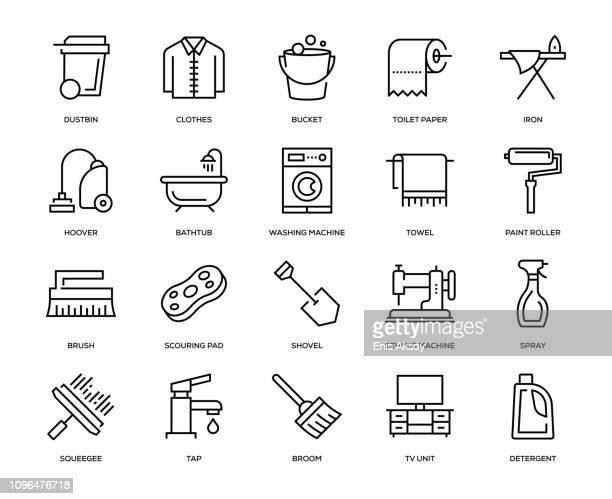 ilustraciones, imágenes clip art, dibujos animados e iconos de stock de conjunto de iconos de tareas domésticas - lavado de manos