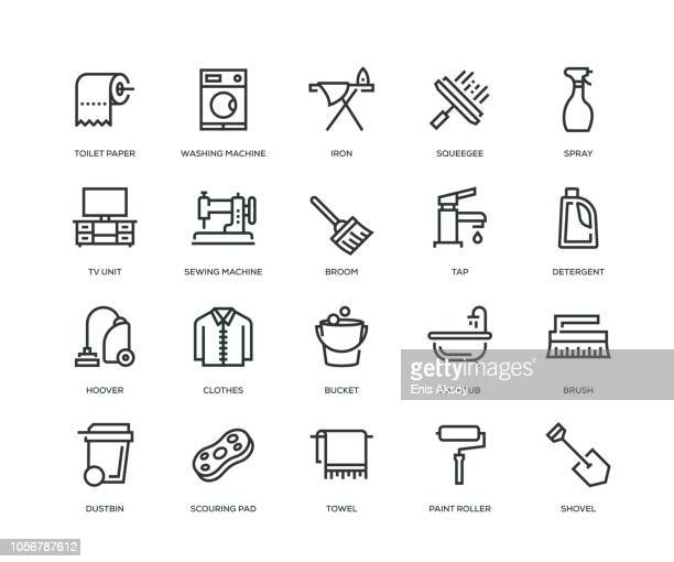housework icons - line series - broom stock illustrations, clip art, cartoons, & icons