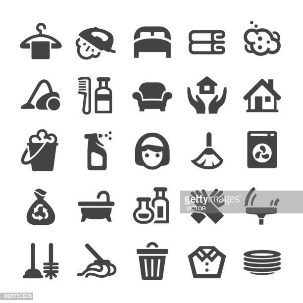 housework icons - smart series - toilet brush stock illustrations, clip art, cartoons, & icons