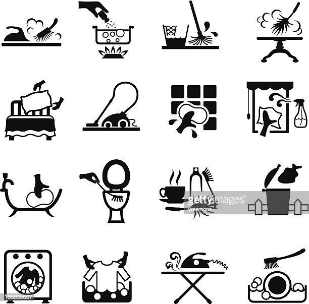 housework icons - toilet brush stock illustrations, clip art, cartoons, & icons