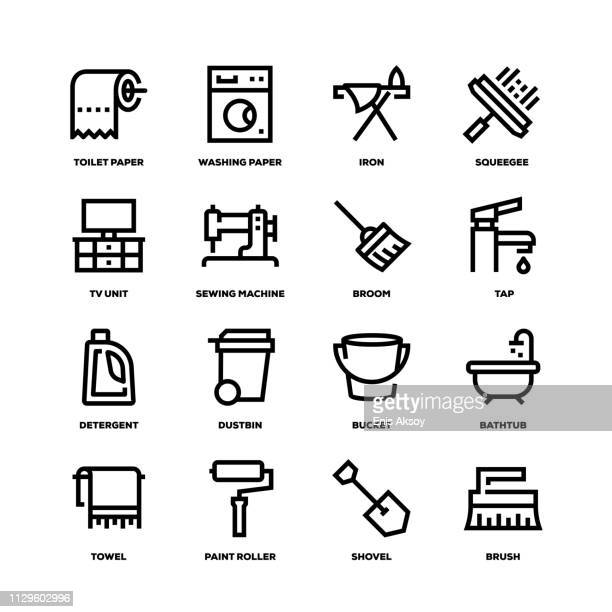 housework line icons - bucket stock illustrations, clip art, cartoons, & icons
