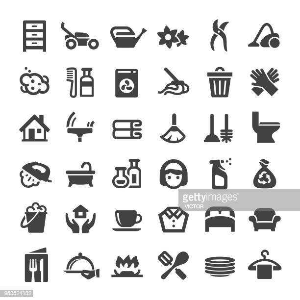 housework service icons - big series - toilet brush stock illustrations, clip art, cartoons, & icons