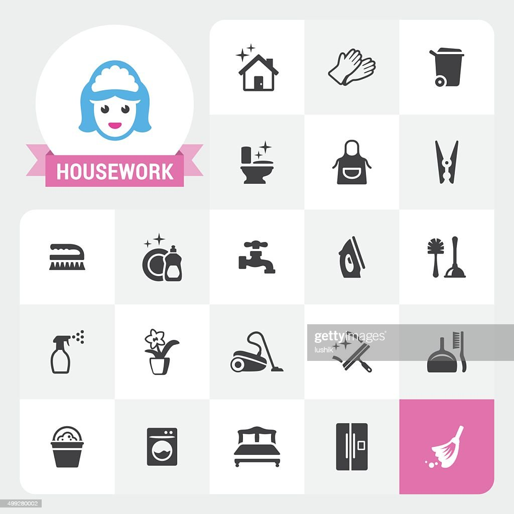 Housework vector icons and label