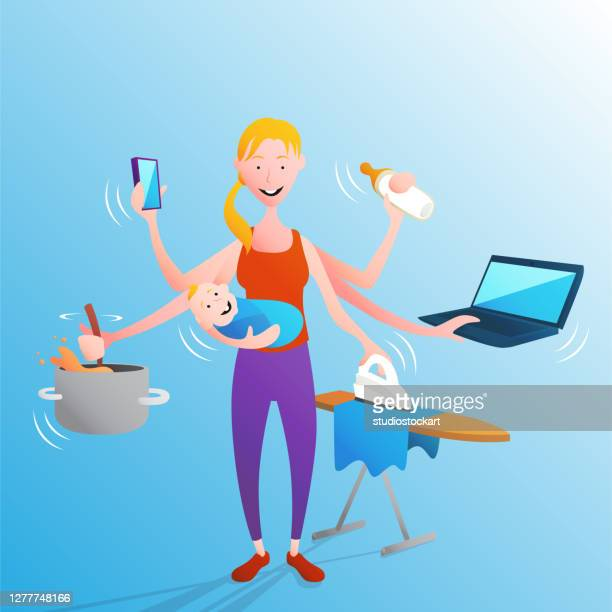 housework with baby - maternity leave stock illustrations