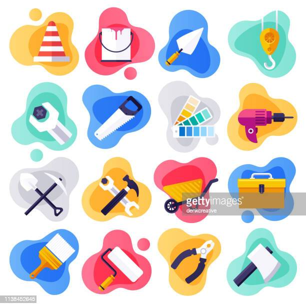 wohnassistenz & handyman-service flat liquid style vector icon set - reparieren stock-grafiken, -clipart, -cartoons und -symbole