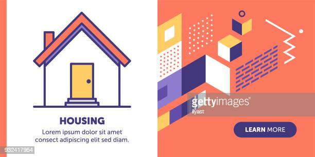 housing banner - brick stock illustrations