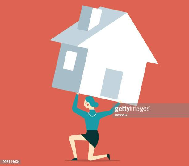 housing problem - businesswoman - struggle stock illustrations