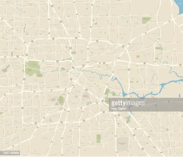 ヒューストン市内地図 - テキサス州 ヒューストン点のイラスト素材/クリップアート素材/マンガ素材/アイコン素材