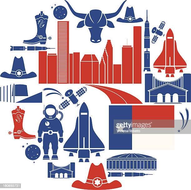 ilustraciones, imágenes clip art, dibujos animados e iconos de stock de conjunto de iconos de houston - houston texas