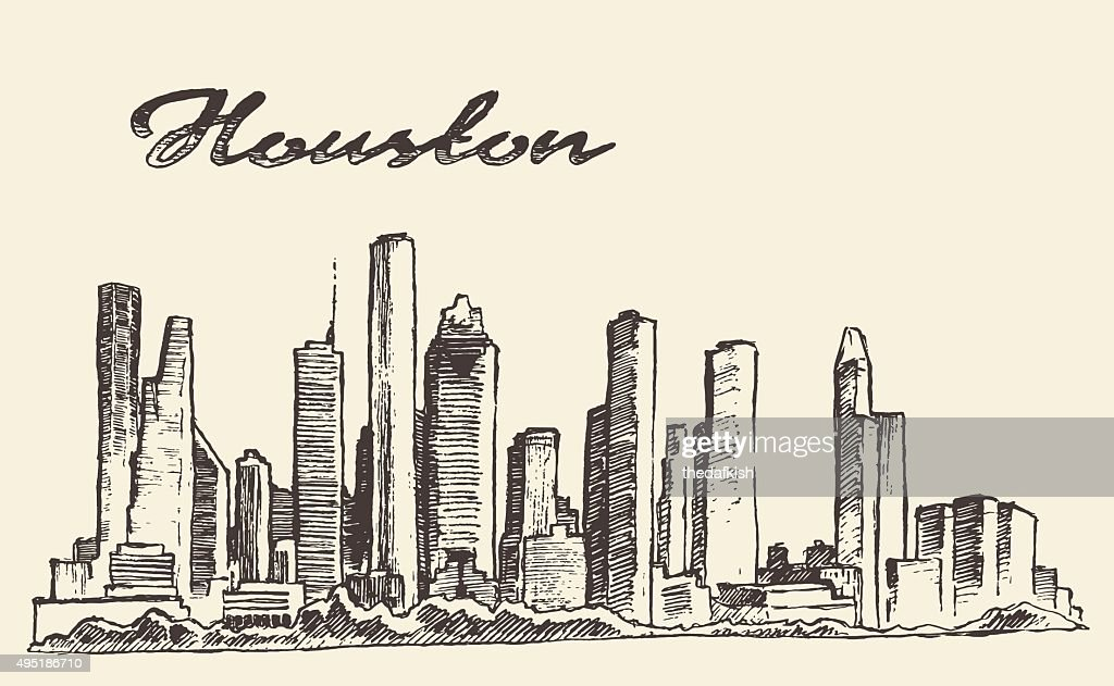 Houston skyline big city vector illustration drawn