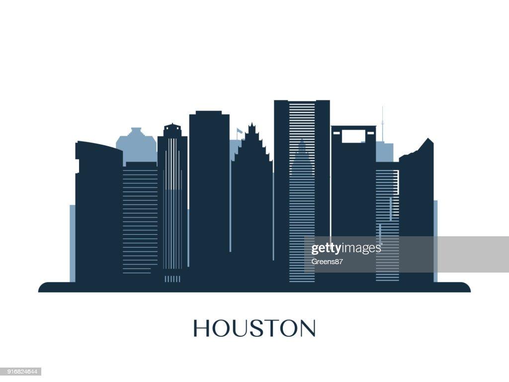 Houston skyline, monochrome silhouette.