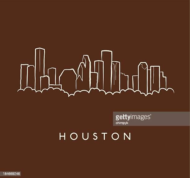 houston skyline sketch - downtown district stock illustrations