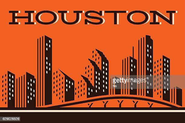 houston skyline - houston stock illustrations