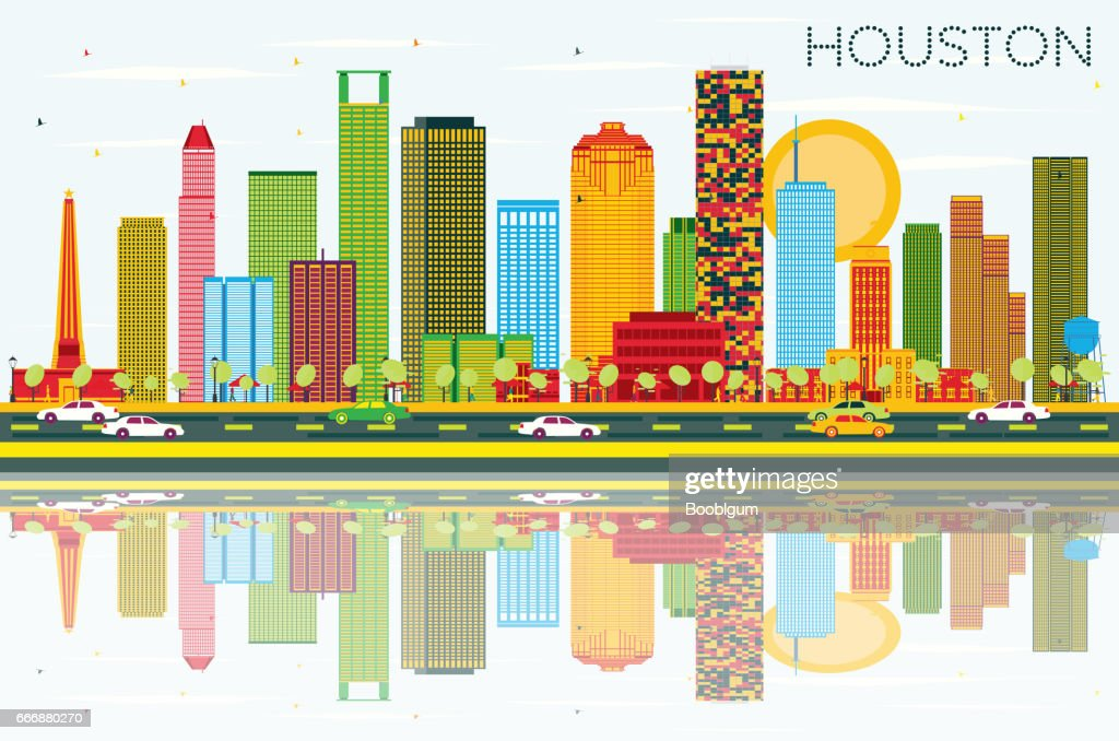 Houston Skyline with Color Buildings, Blue Sky and Reflections.