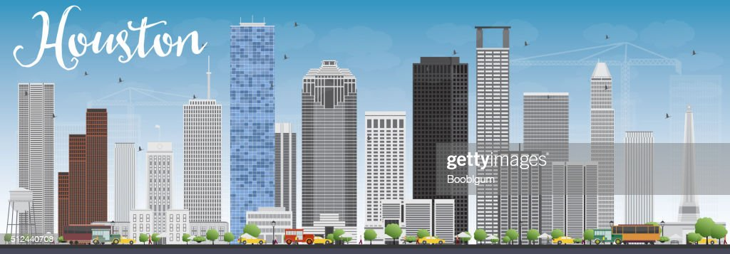 Houston Skyline with Gray Buildings and Blue Sky.