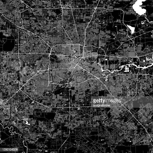 illustrazioni stock, clip art, cartoni animati e icone di tendenza di mappa vettoriale di houston - houston texas