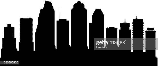 houston (all buildings are complete and moveable) - houston stock illustrations