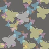 Hovering butterflies seamless pattern