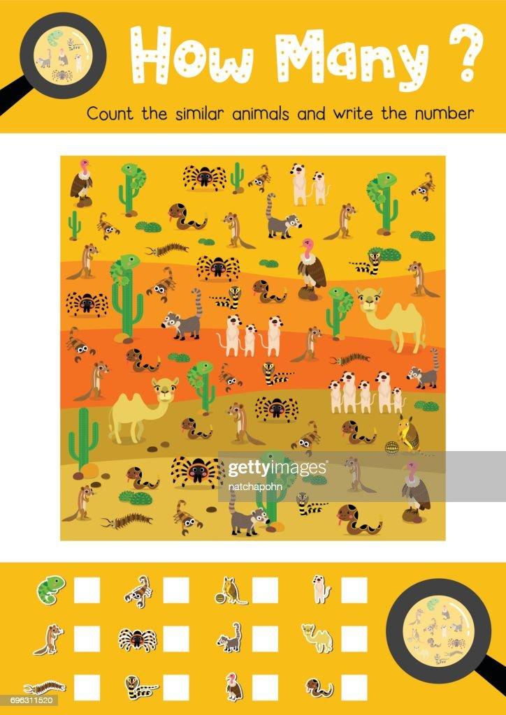 How many desert animal