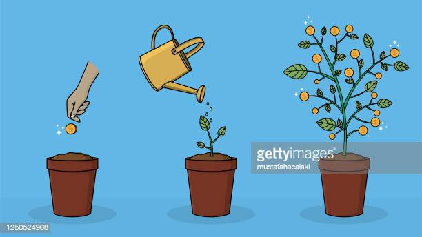 how to grow money on a tree - watering can stock illustrations