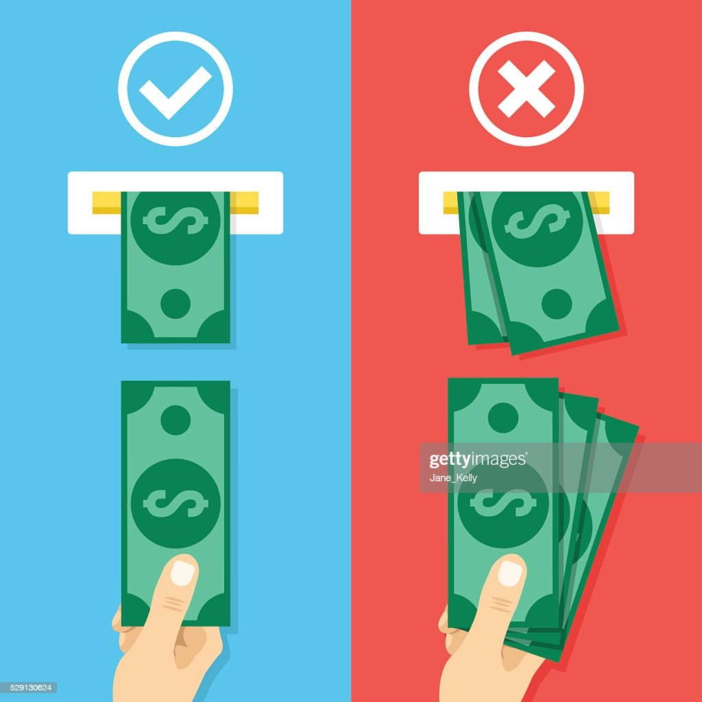 How to insert cash in atm machine. Flat vector illustration