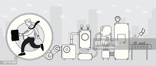 illustrazioni stock, clip art, cartoni animati e icone di tendenza di come fare soldi - macchinario