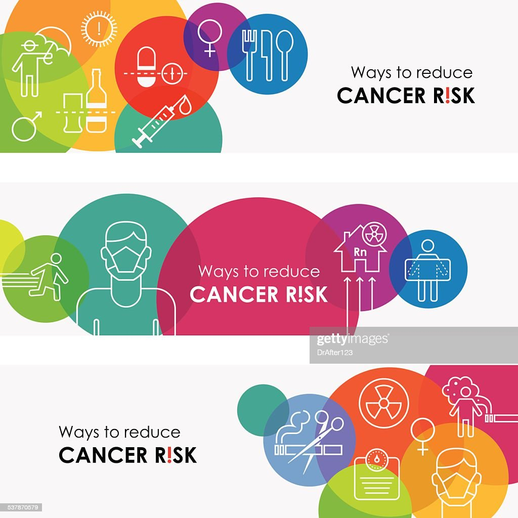 How To Reduce Cancer Risk Banners : stock illustration
