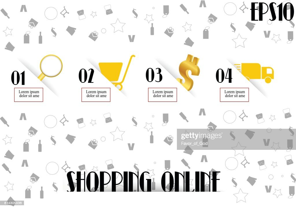 how to shopping on line template with icon. vector illustration