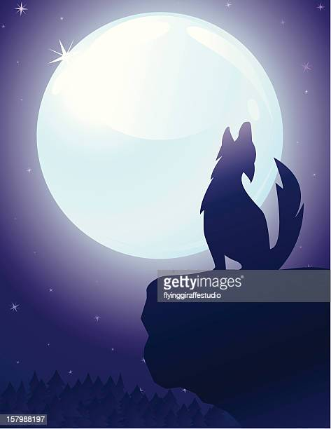 howling wolf and full moon - howling stock illustrations, clip art, cartoons, & icons