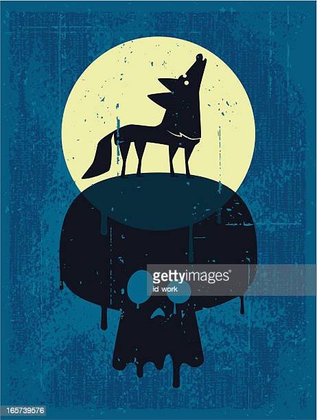 howling wolf and skull - howling stock illustrations, clip art, cartoons, & icons