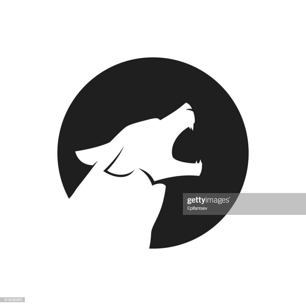 Howling wolf head icon or icon in black and white