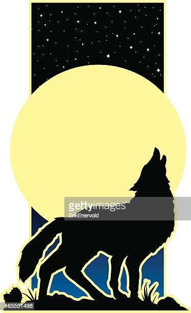 howling wolf - howling stock illustrations, clip art, cartoons, & icons