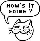 How's it going? Cartoon Cat Head. Speech Bubble. Vector Illustration.