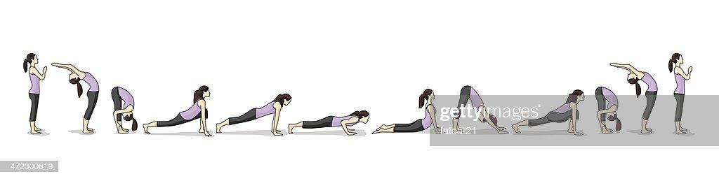 How-to illustration of yoga Sun Salutations : stock illustration