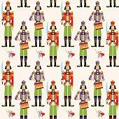 Сhristmas Nutcrackers. Seamless background pattern.