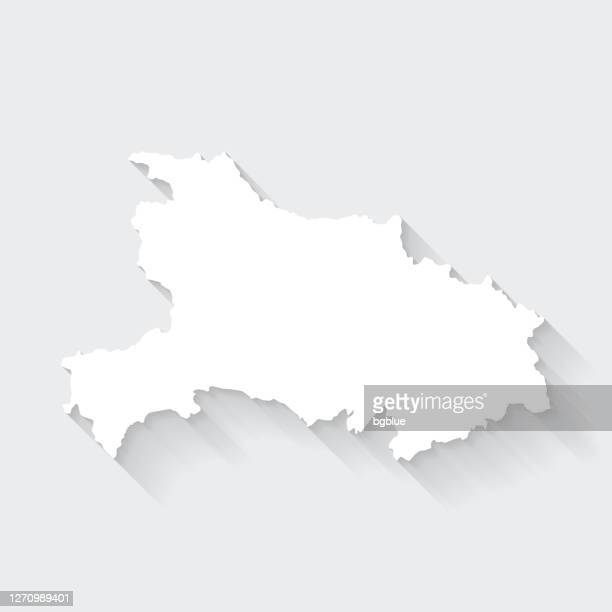 hubei map with long shadow on blank background - flat design - wuhan stock illustrations