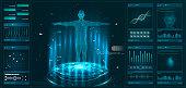 Hud element ui medical examination. Display set of virtual interface elements. Modern medical examination HUD style
