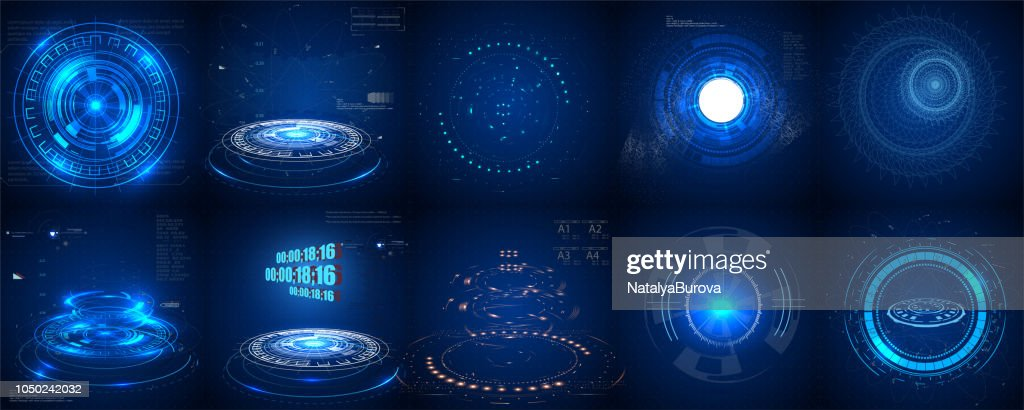 Hud futuristic element. Set of Circle Abstract Digital Technology UI Futuristic HUD Virtual Interface Elements Sci- Fi Modern User For Graphic Motion,
