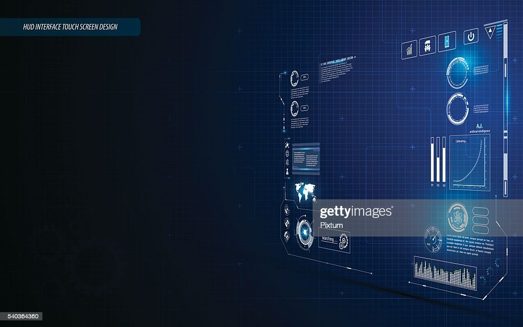 hud interface dashboard touch screen perspective design background