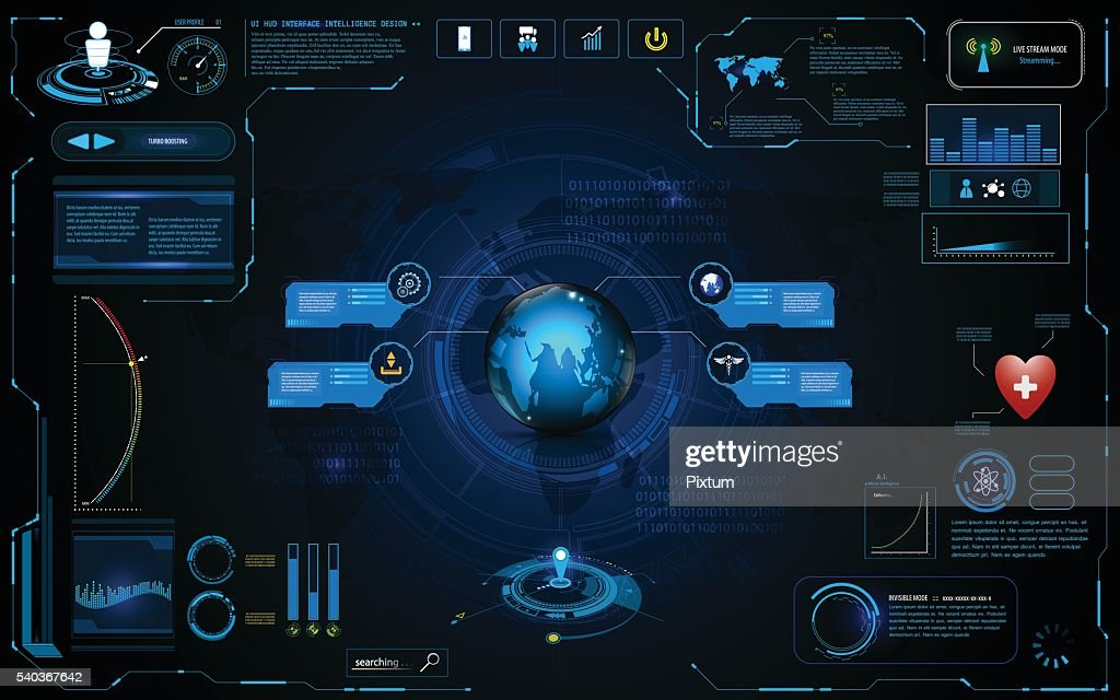 hud interface global network connection tech template design