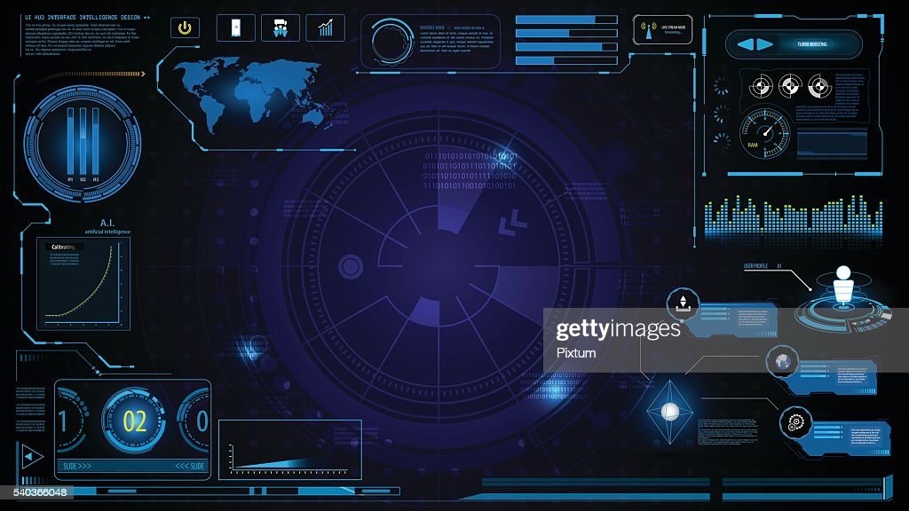 hud technology innovation screen interface template and element design background