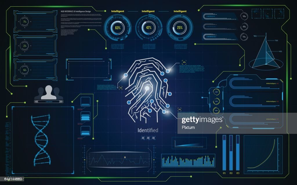hud ui interface screen identification virutal system security concept