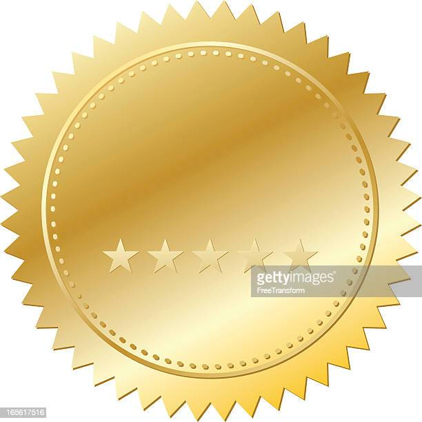hued gold seal with five stars placed horizontally - seal stock illustrations